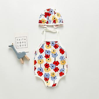 Summer Cute Flower Swimsuit With Hat For Baby