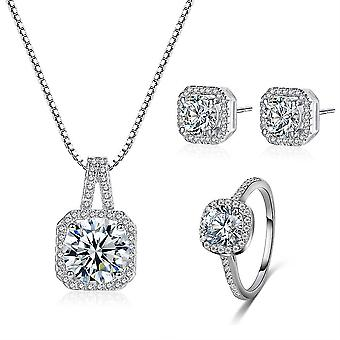Jewelry Set Square Jewelry Set Shiny Zircon Diamond Micro Inlaid Women Necklace Earrings Ring For