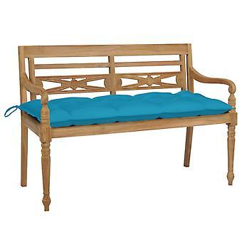 vidaXL Batavia panca da giardino con cuscino blu 120 cm teak legno massello