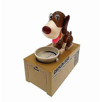 Barnens leksak äter automatiskt pengar valp piggy bank stjäl pengar hund piggy bank (Vit + brun)