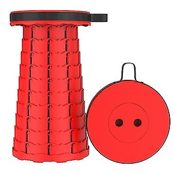 Outdoor folding telescopic stool, portable plastic stool for camping and fishing(Red)