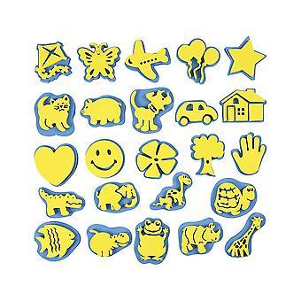 24 Cartoleiros de tinta de espuma sortida para crianças | Selos de tinta de esponja