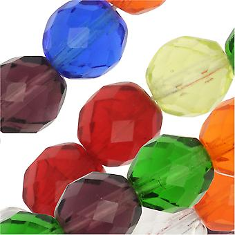 Czech Fire Polished Glass Beads, Faceted Round 10mm, 50 Pieces, Rainbow Mix