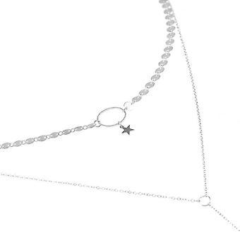 3PCS  Trendy Sequin Tassel Stars Clavicle Necklace Women Choker SILVER COLOR