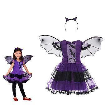 Meisjes heks kostuum paarse vampier verkleden met vleermuis vleugels kinderen Halloween maskerade partij