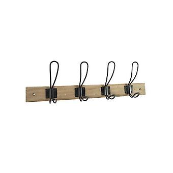 Mainstays 18 in. Wall Mounted Farmhouse Hook Rack, 4 Hooks, Rustic Gray with Matte Black