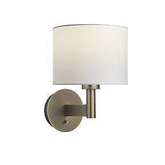 Wandlamp antieke bronzen plaat, vintage witte stof ronde schaduw