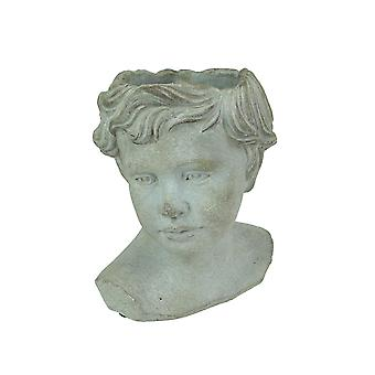 Distressed Cement Young Boy Child Bust Indoor / Outdoor Head Planter