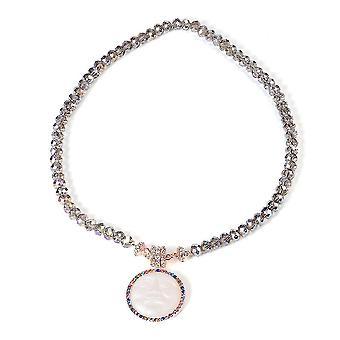 TJC Perle Sting Halskette für Damen 20 '' Zirkonia und Glas 0.01ct