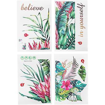 Adesivi da parete, 4 pezzi Fiore pianta Modello adesivo da parete rimovibile Fai da te Mural Art Decor Murales per la decorazione della camera da letto del soggiorno 17,7x11,8 pollici
