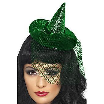 מיני מכשפה כובע ירוק מנצנצים על חישוקים עם רשת