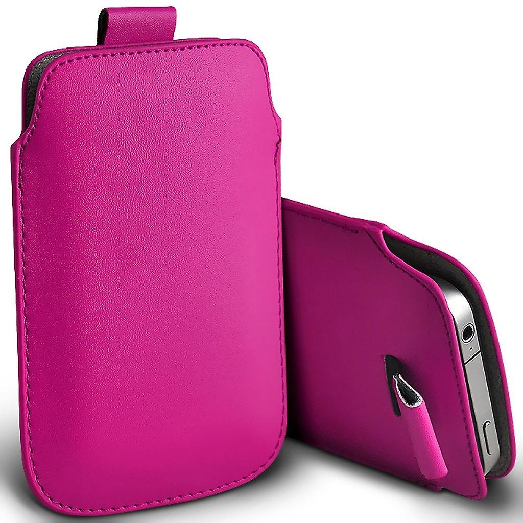 Kingzone one Slip In Pull Tab Faux Leather Pouch Case Cover (Hot Pink)