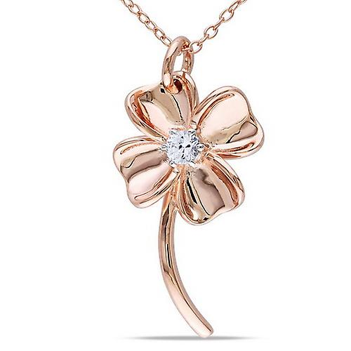 Affici Sterling Silver Daisy Pendant with Chain 18ct Rose Gold Plated Diamond CZ Gem