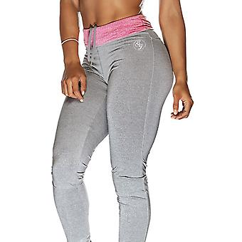 Bad Girl Long Fitness Tights - Charcoal Marl/Pink Marl