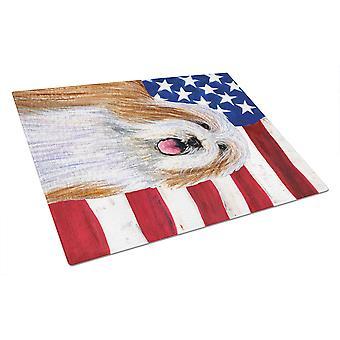 USA amerikanske flagget med Bearded Collie Glass skjærebrett store