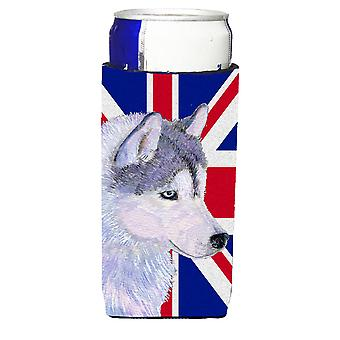 Siberian Husky with English Union Jack British Flag Ultra Beverage Insulators fo