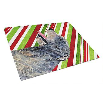 Irish Wolfhound Candy Cane Holiday Christmas Glass Cutting Board Large