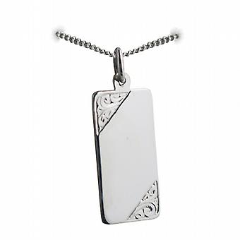 Silver 26x13mm hand engraved rectangular medical alarm Disc with a curb Chain 18 inches
