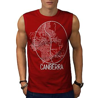 Canberra City Map Fashion Men RedSleeveless T-shirt | Wellcoda