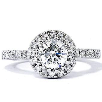 0.80 Ct SI1 Round Cut Diamond Halo Engagement Ring 14k White Gold Enhanced