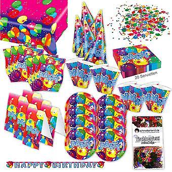 Partito di buon compleanno imposta XL 64-teilig per pacchetto di 6 ospiti compleanno decorazione festa