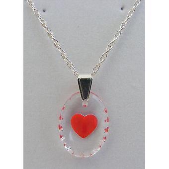 Handgemalte Oval Kristallanhänger Herz - rot