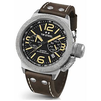 TW Steel Mens Canteen 50mm Chrono Brown Leather Strap CS34 Watch