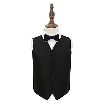 Black Solid Check Wedding Waistcoat & Bow Tie Set for Boys