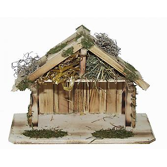 Crib Nativity stable Efrat L wood hand work for characters up to 12 cm