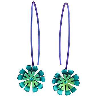 Ti2 titan dubbel tio kronblad blomma droppe örhängen - gröna