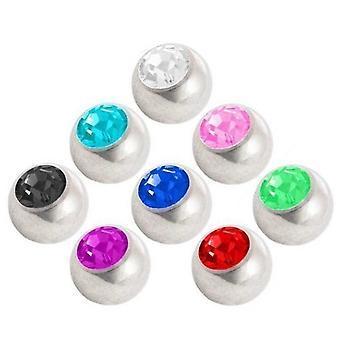 Piercing udskiftning bolden pakke, krop smykker, med sten | 1,6 x 4, 5 og 6 mm