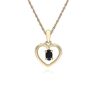 Classic Style Oval Sapphire Love Heart Shaped Hanger Ketting in 9ct Yellow Gold 135P1887029