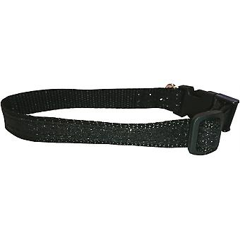 Side Clip Dog Collar Sparkly Black by Dogcrafts