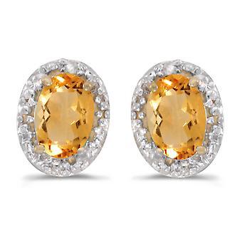 LXR 10k Gelbgold Oval Citrin und Diamant Ohrringe 0.62 ct