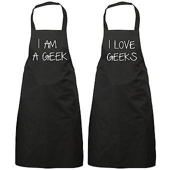 Couples I Am a Geek I Love Geeks Black Apron Set