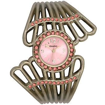 Henley Glamour Fan Design Rose Crystal Bangle Ladies Fashion Watch H07068.4