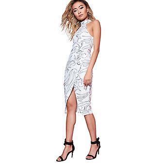 LMS Stehkragen weißes Kleid mit geraffte Taille Detail und Print