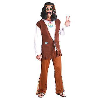 Mens Brown jaren 1970 hippie Fancy Dress kostuum