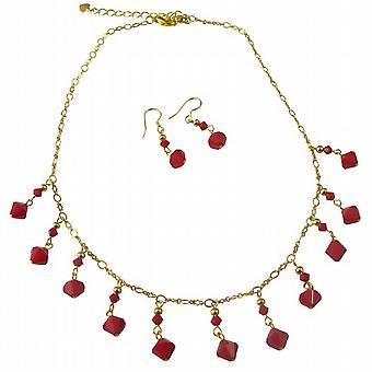 Mørk rød koral Swarovski 22k guld forgyldt halskæde sæt smykker