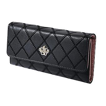 Women's wallet with checkerboard pattern and gold-coloured crown