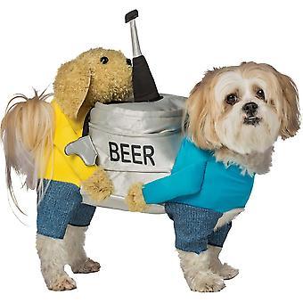 両手を「ビール樽」犬のコスチューム