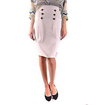Elisabetta Franchi Ezbc050140 Damen's Weißer Polyesterrock