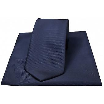 David Van Hagen Horizontal Ribbed Polyester Tie and Handkerchief Set - Navy