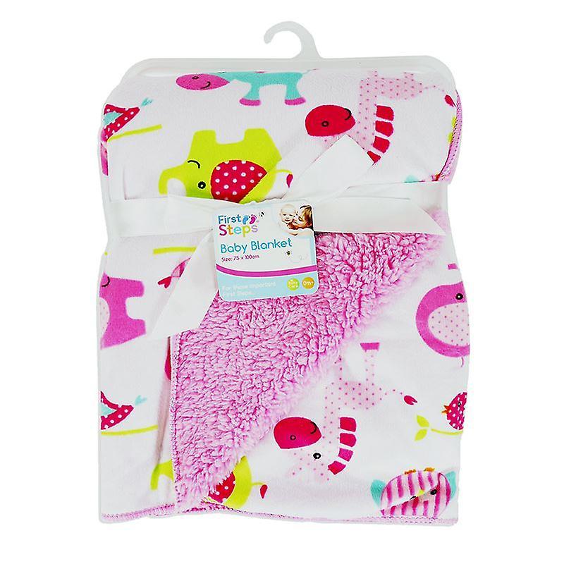 First Steps Mink Sherpa Reversible Baby Blanket  Newborn 75  x 100 cm FS537