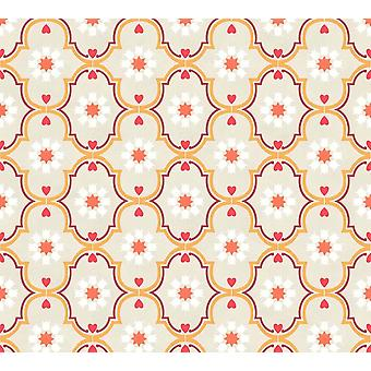 Ornament Hearts Floral Retro Wallpaper Red Beige Orange Paste Wall A.S Creation