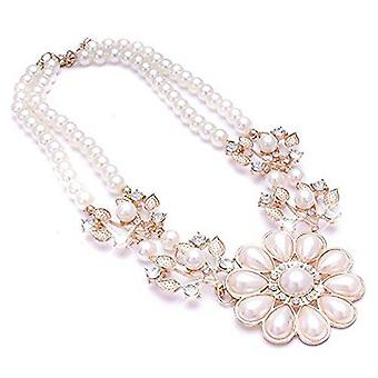 Ladies gold pearl flower style jewel statement swarovski crystal necklace