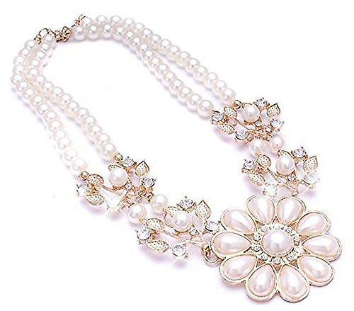 Ladies gold pearl flower style jewel statement swarovski crystal necklace