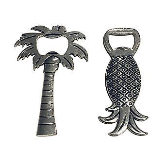 Capac deschidere palmier și ananas metal antic argint 2-Pack
