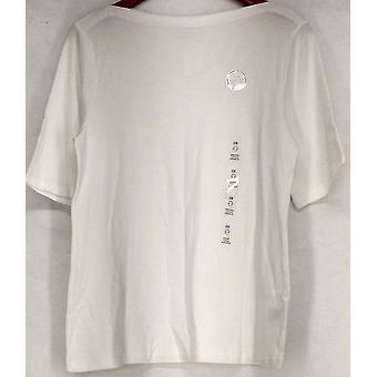 Charter Club Plus Top Short Sleeve Knit Top White Womens