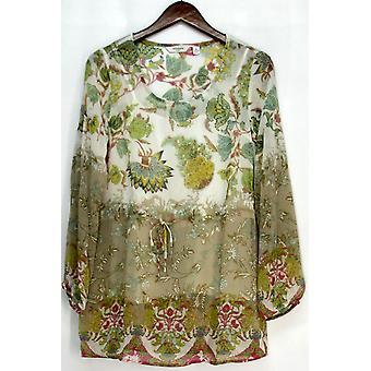 Liz Claiborne York Printed Chiffon Tunic Top & Camisole Beige A213271